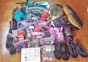 Contenu e mon sac à dos pour mon tour du monde