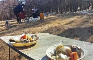 grillades feu de bois mongolie